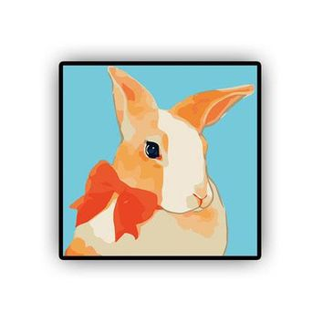 Bunny Rabbit DIY Kids Paint By Numbers Kit: Includes Acrylic Paints, Brushes and Canvas with Frame Option