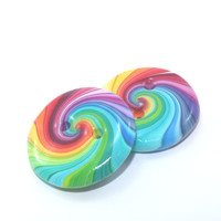Big buttons in rainbow colors, unique pattern, Polymer Clay  colorful swirl buttons, set of 2