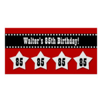 85th Birthday Red Black White Stars Banner V85S Poster