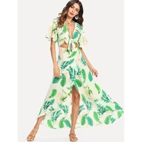 Knot Front Open Midriff Wrap Tropical Dress