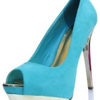 Teal Faux Suede Peep Toe Metallic Stiletto Heels Pumps Flight 6