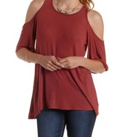 Red Cold Shoulder Swing Tunic Top by Charlotte Russe