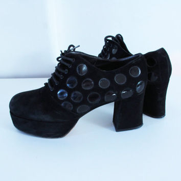 1970 70's platform shoes suede leather dots circles laced up shoes disco glam rock