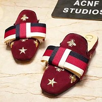 GUCCI Women Fashion New Embroidery Bee Star Stripe Bow Shoes Slippers Burgundy