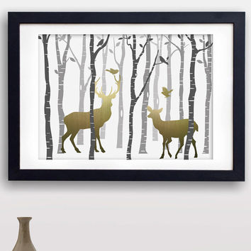 60% OFF SALE Deer Art, Deer Prints, Faux Wood Background, Woodland Deer Art print, Deer Silhouette, Rustic Home Decor