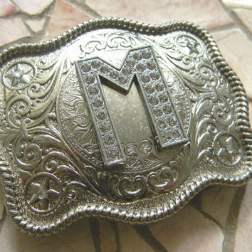 Monogram Letter M Personalized Silver Belt Buckle, Rhinestone Initial M Monogrammed Womens Mens Kids Western Belt Buckle, Custom Belt Buckle