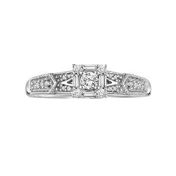 Cherish Always Round-Cut Diamond Frame Engagement Ring in 10k White Gold (1/4 ct. T.W.)