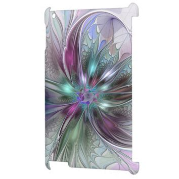 Colorful Fantasy Abstract Modern Fractal Flower iPad Cases