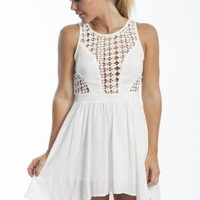 White Asymmetric Dress with Lace Panel Top&Open Back