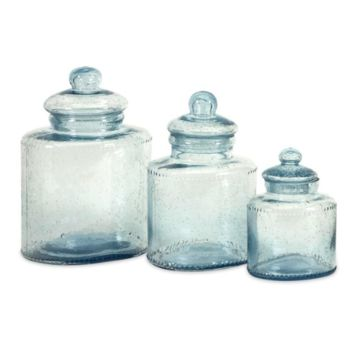 Cyprus Glass Canisters - Set of 3