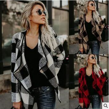 Women Casual plaid lapels woolen jacket coat