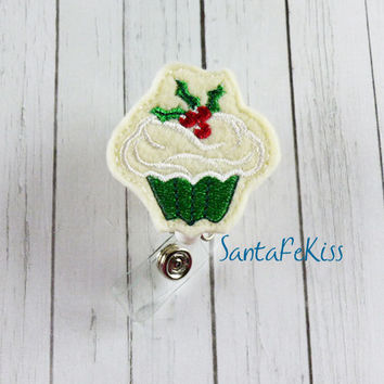 Christmas Cupcake with Holly Felt Badge Holder with Retractable Badge Reel. A great gift for yourself or for a coworker