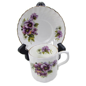 Staffordshire Collection English Pansy Fine Bone China Demitasse Cup and Saucer