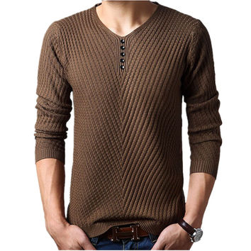 M-4XL Winter Henley Neck Sweater Men Cashmere Pullover Christmas Sweater Mens Knitted Sweaters Pull Homme Jersey Hombre 2015