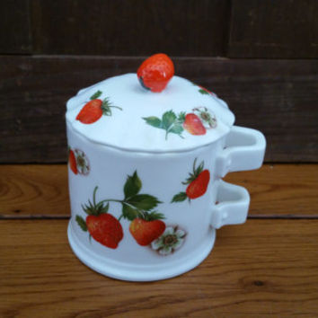 Vintage Strawberry Lane Lidded Sugar Bowl Fine Bone China