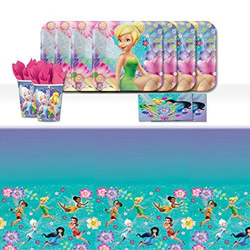 Disney Tinkerbell Fairies Children's Birthday Party Tableware Pack For 16