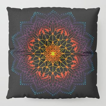'Glowing Shamballa' Bohemian Mandala Black Blue Purple Orange Yellow Floor Pillow by inspiredimages