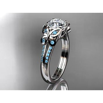 14k white gold Blue Topaz engagement ring, butterfly ring,  One Moissanite ADLR514