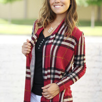 Burgundy Plaid Cardigan With Elbow Patches