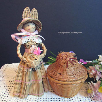 Vintage Rabbit Hat Straw Doll, Wicker Bunny Rabbit Trinket Box