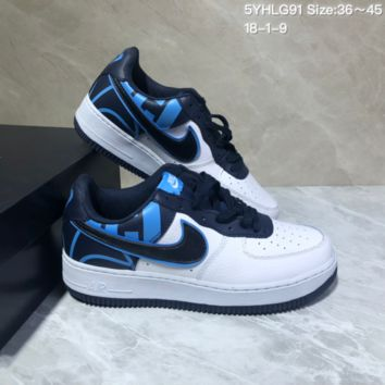 KUYOU N950 Nike Air Force 1 AF1 Low Fashion Urban Preppy Casual Skate Shoes White Black Blue