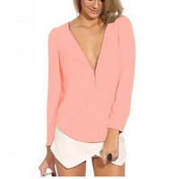 Women's Casual V Neck Chiffon Blouses Long Sleeve Loose Tops Shirt +Necklace F8