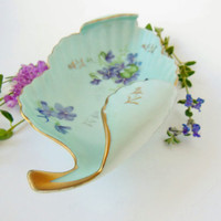 Vintage Porcelain Leaf Dish Hand Painted shabby chic cottage chic