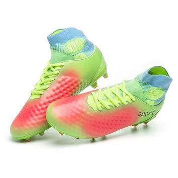 Sufei Football Boots Men AG High Ankle Superfly Soccer Cleats Long Spikes Kids Artificial Grass Training Sneakers Size 35-46