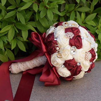 Luxury Crystal Beaded Burgundy Bridesmaid Flower Bouquet White Red Wedding Flowers Bridal  Bouquets Silk Roses Ramo Boda