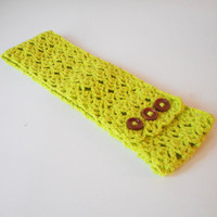 Lacy Crochet Stretchy Wide Headband in Lime, ready to ship.