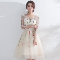 LMFIH3 New fashion small dress short dress in the sleeve was thin spring and summer party evening dress bridesmaid dress