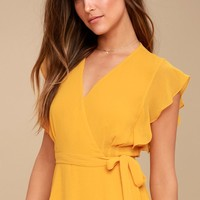 Fit For Flaire Mustard Yellow Ruffle Wrap Top