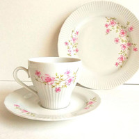 Vintage JLMenau tea set trio East German GDR porcelain teacup saucer plate set pink floral Cottage Shabby Tea Party pink & white