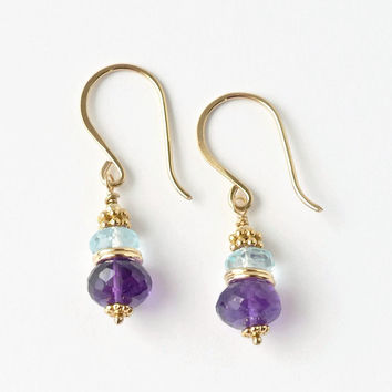 Amethyst Earrings / Blue Topaz Earrings / Gold Earrings / Beaded Gemstone Earrings / Semiprecious Jewelry / Purple Gemstone Dangle
