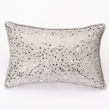 Jennifer Lopez bedding collection Parisian Dusk Sequin Confetti Throw Pillow (Grey)