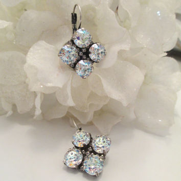 swarovski crystal earrings WHITE PATINA WEDDING, quad stones, diamond crystal accents, stunning, beautiful, designer inspired