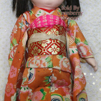Japanese Ichimatsu Gofun Ningyo Kawaii Doll, Composition Doll w/Original Silk Kimono, Vintage Ethnic Japan Toy, Handpainted Geisha Girl D217