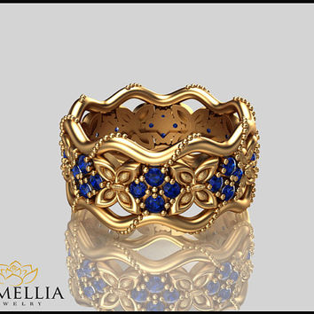 14K Yellow Gold Blue Sapphire Ring, Butterfly Ring,Gemstone Eternity Ring,Unique Ring,Camellia Jewelry,Birdal Jewelry,Nature inspired Ring.