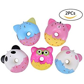 Aolige 2 PCs Squishies Panda Slow Rising Jumbo Kawaii Cute Small Animal Donuts Creamy Scent for Kids Party Toys Stress Reliever Toy