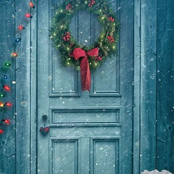 Blue Painted Door Snowy Wreath Lights Christmas Printed Backdrop - 6378