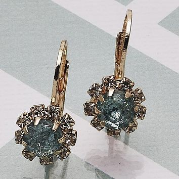 Gold Layered Women Flower Leverback Earring, with Aquamarine Crystal, by Folks Jewelry