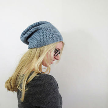 Womens Blue Hat. Slouchy Hat. Slouchy Womens Hat. Slouchy Beanie. Oversized Hat. Crochet Hat. Chunky Knit Hat Beanie. Blue Hat. Winter Hat.