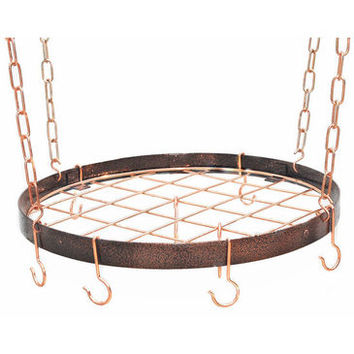 Rogar Round Hanging Pot Racks with Grid In Hammered Copper and Copper
