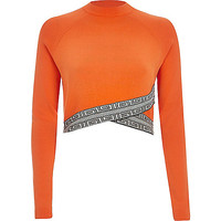 Bright orange pattern hem crop top - knitted tops - knitwear - women