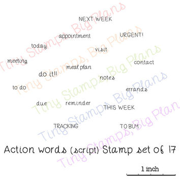 Planner stamps - Action words (script) - limited edition clear stamp set for your planner or diary, original design