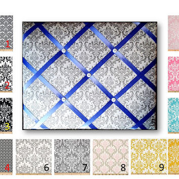 Damask  Print French Memo Board in Your choice of damask fabric by Premier Prints - 11 x 14