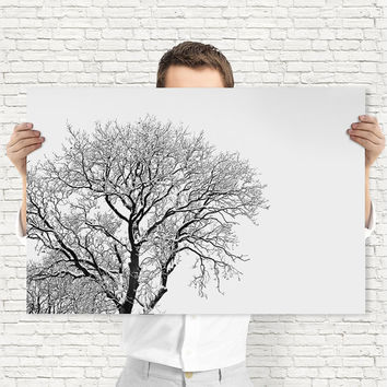 Minimalist Winter Tree Print - Black and White Wall Art - Monochrome Snow Art, Digital Download | Winter Decor by Mila Tovar