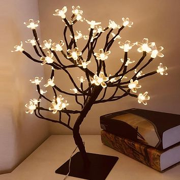 24/36/48 LED USB Cherry Plum Blossom Tree Light Table Lamps Night light for Home Indoor Bedroom Wedding Party Bar Decoration