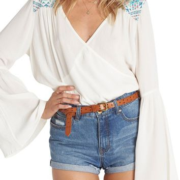 Billabong New Ways Embroidered Bell Sleeve Top | Nordstrom