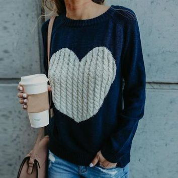 Wontive 2019 Autumn Winter Women Sweaters Heart Pattern Printed Long Sleeve Tops O-Neck Lovely Pullovers Knitted Loose Sweaters
